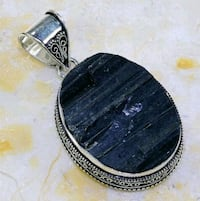 BLACK TOURMALINE ANTIQUE DESIGN PENDANT Kirkland