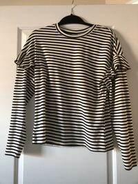 white and black striped frilled shirt