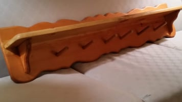 Solid Pine Wood, Wall-mounted Clothes Rack & Shelf