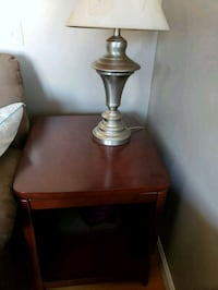 brown wooden base table lamp