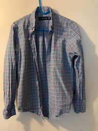 (Med.)- Ralph Lauren Custom Fit Long-Sleeved Striped Button Down Shirt