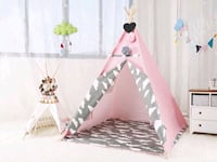 Pink teepee with grey cloud print - with soft area mat - brand new Hamilton, L8L 2H2