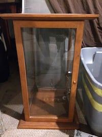 brown wooden framed glass display cabinet Calgary, T2A 0X2