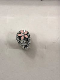 Sterling silver/ pink enamel flowers and clear CZ bracelet charm