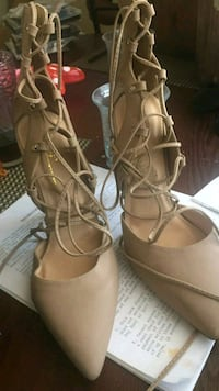 pair of brown leather open-toe ankle strap sandals El Centro, 92243