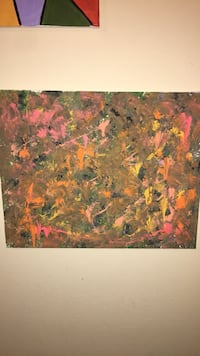 green, yellow, and orange abstract painting Raleigh, 27606