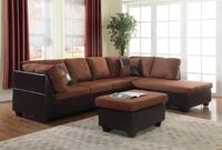 NEW CHOCOLATE REVERSIBLE SECTIONAL SOFA WITH OTTOMAN MICROFIBER/ LEATHERETTE  Clifton, 07013