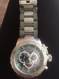 round silver chronograph watch with link bracelet Envicta