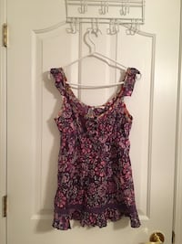 women's purple and pink floral sleeveless top