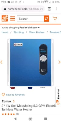 Eemax-27-kW- electric tankless hot water heater