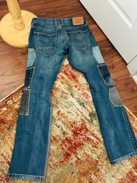 blue denim straight cut jeans