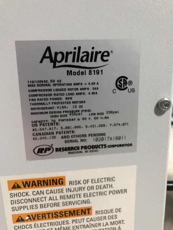 Used Aprilaire 8191 Outside Air Whole House Dehumidifier 999 Or Best Offer For In Waxahachie Letgo