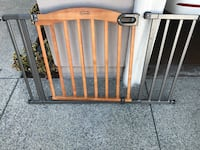 Brown and black wooden playpen