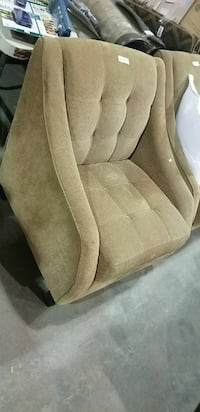 TWO brown fabric padded sofa chairs set.save!