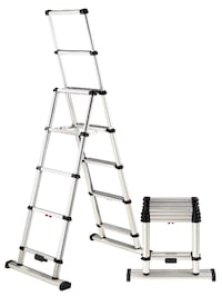8 ft Professional wide step telescoping A-frame ladder, with 12 ft reachable height Type 1AA 375 lb rated; weighs 24 lbs Fully automatic operation up and down with patented One-Touch release mechanism Stair feature on one side OSHA Compliant, ANSI 14.2 te 43207
