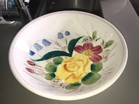 white and multicolored floral ceramic plate North Vancouver