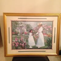 White and red flower painting with brown wooden frame Virginia Beach, 23454