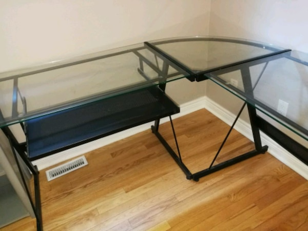 Glass corner desk with pull out  keyboard tray