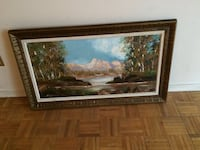 Brown wooden framed painting of house Vaughan, L4J 7G9