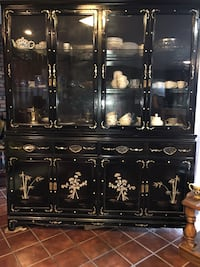 ANTIQUE ORIENTAL BLACK MOTHER OF PEARL CHINA CABINET  Mount Vernon, 10552