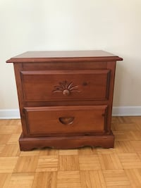 Solid wood two drawer night stand