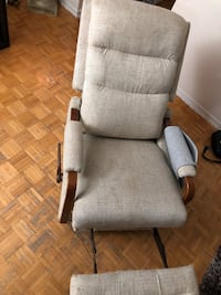 Brown wooden frame gray padded armchair Toronto, M9L 2C5