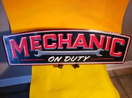 Large Metal MECHANIC ON DUTY Sign size 8x25