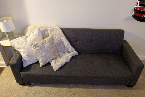 Grey Convertible Sleeper Sofa with Storage