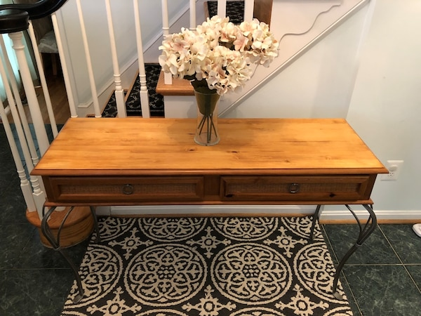 Hardwood Side Table with Two Drawers