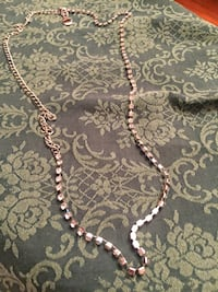 Rhinestone long silver necklace