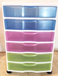 BRAND NEW: 6 Multicolored Unit- Drawer Cart Leesburg