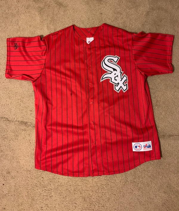 Vintage Retro 90's MLB Majestic Chicago White Sox Red Pinstriped Jersey Size Extra Large