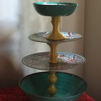 three green and brown glass candle holders Fall River, 02720
