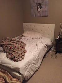 Queen size bed white leather perfect shape comes with mattress and jewels on headboard  Edmonton, T6X 0K1