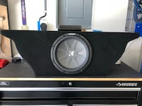 "Nissan 370Z custom sub box with 10""subwoofer and amp"