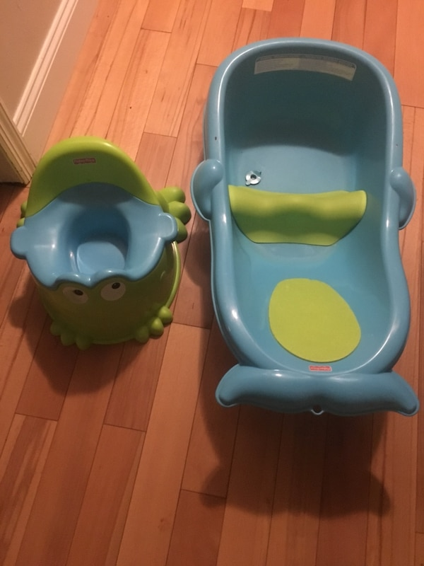 Used Fisher Price Froggy Potty And Fisher Price Blue Whale Bath Tub