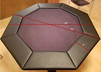 Octagon Poker/Gaming Table Top with Glass Dining Table Set