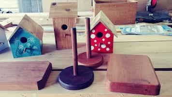 Bird houses, cutting boards, paper towel holders