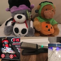 two bear plush toys, hair flat iron, silver Android smartphone, and pair of inline skates collage