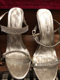 pair of gray open-toe ankle strap heels Chicago, 60645