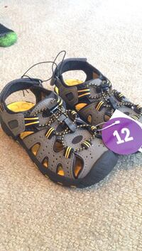 size-12 black-gray-yellow hiking shoes