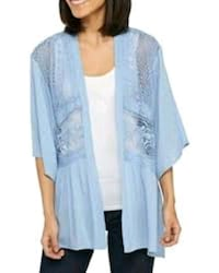 women's blue and white floral cardigan 321 mi