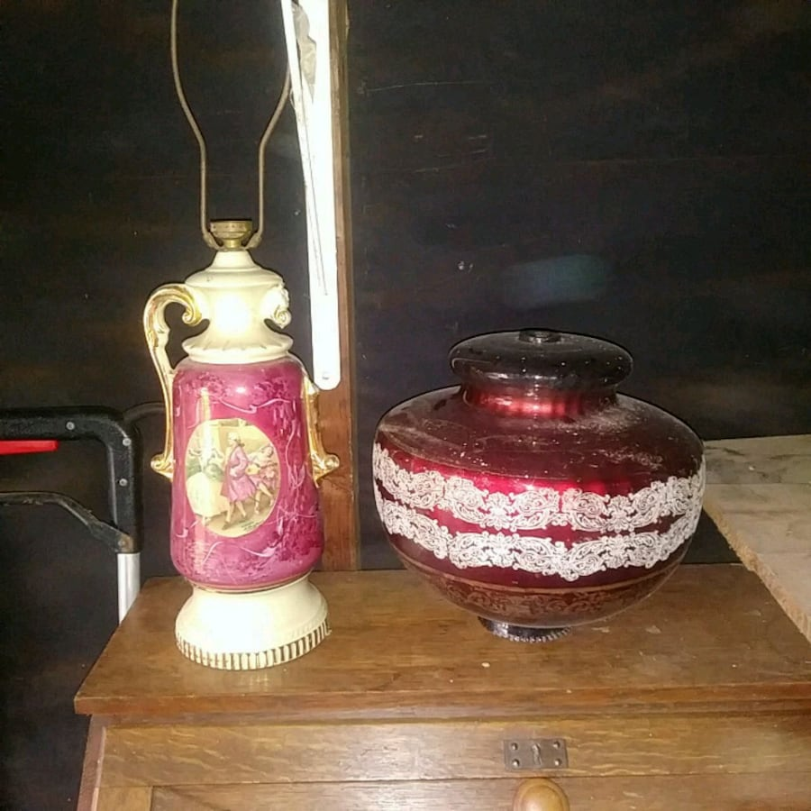 Victorian lamp and shade