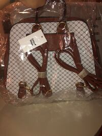 brown and white leather tote bag