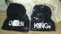 2 black Queen and King knit caps