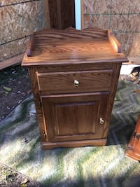 brown wooden single-drawer end table 34 mi