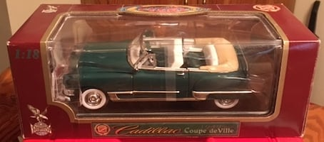 Road legends 1:18 Cadillac Coupe De Ville (1949) brand new never opened , all metal collectors car with functioning doors, hood, trunk, adjustable front wheels and workable steering asking $25 OBO , located in apollo