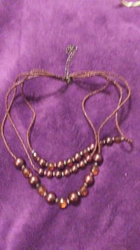 women's brown beaded silver chain necklace Ottumwa, 52501