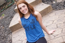 women's blue NY-LA print tank top