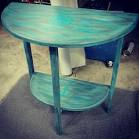 Turquoise faux distressed nautical moon table Nanaimo, V9S 3Y4